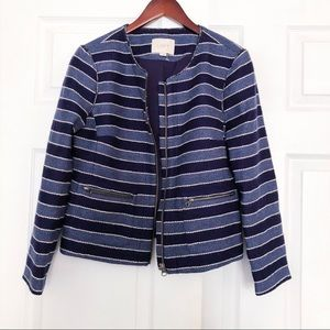 Ann Taylor Loft tweed striped blazer